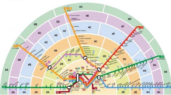 Карта зон Барселоны