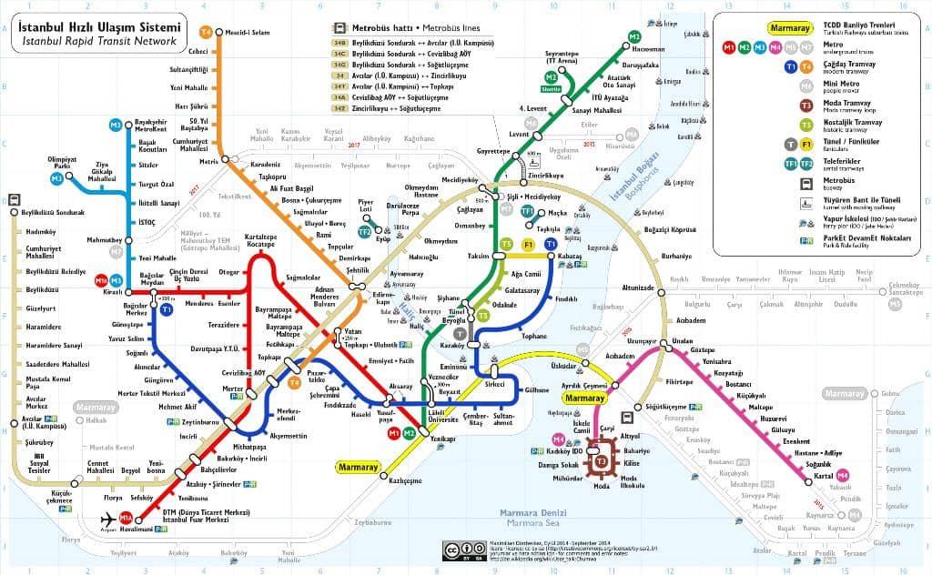 Карта метро Стамбула Стамбул (Istanbul) - Турция