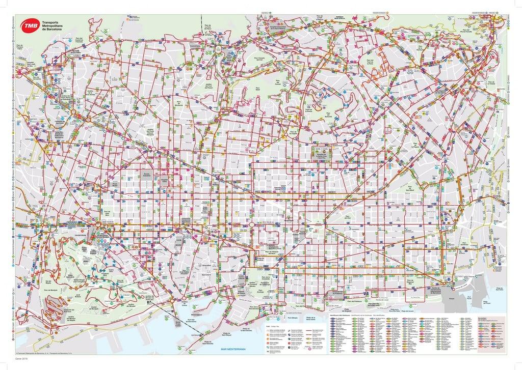 Карта автобусной сети Барселоны - Барселона на общественном транспорте