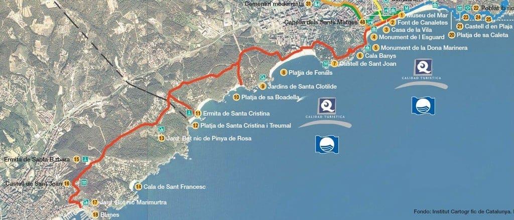 Карта маршрута Ллорет-де-Мар - Бланес