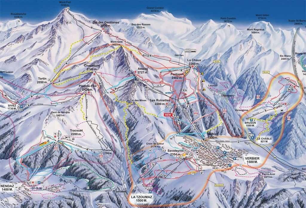 Карта курорта Вербье, Швейцария