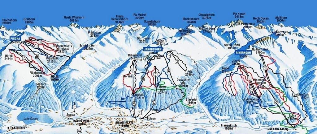 Карта горнолыжного курорта, Давос