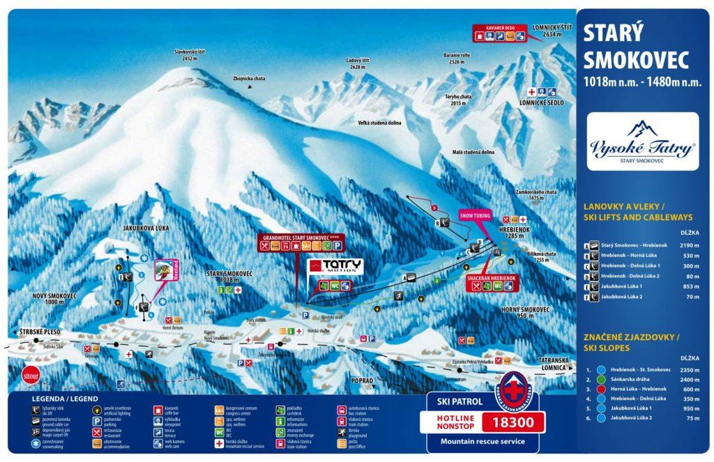 Карта курорта Смоковец Горнолыжные курорты Словакии