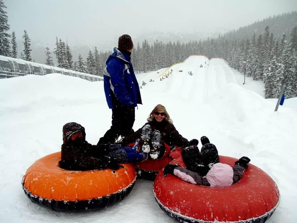 Спуск на тюбе по снегу, Вербье