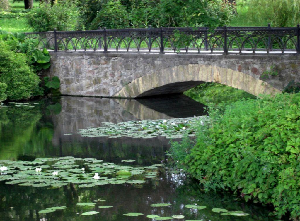 Вид с арочного мостика в парке Александрия