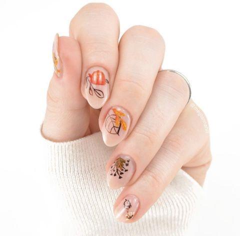 Негативный дизайн ногтей осень - Negative Space