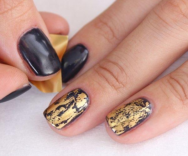 Осенний маникюр - черный с золотом