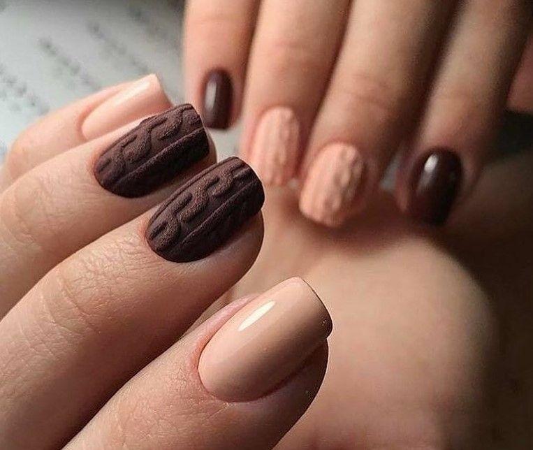 Вязаные узоры на ногтях