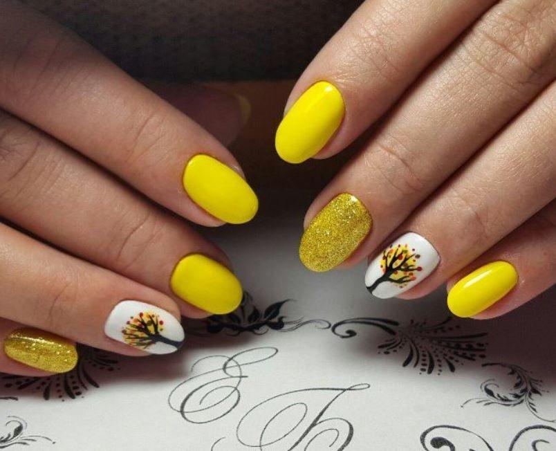 Листья желтые - осенний маникюр