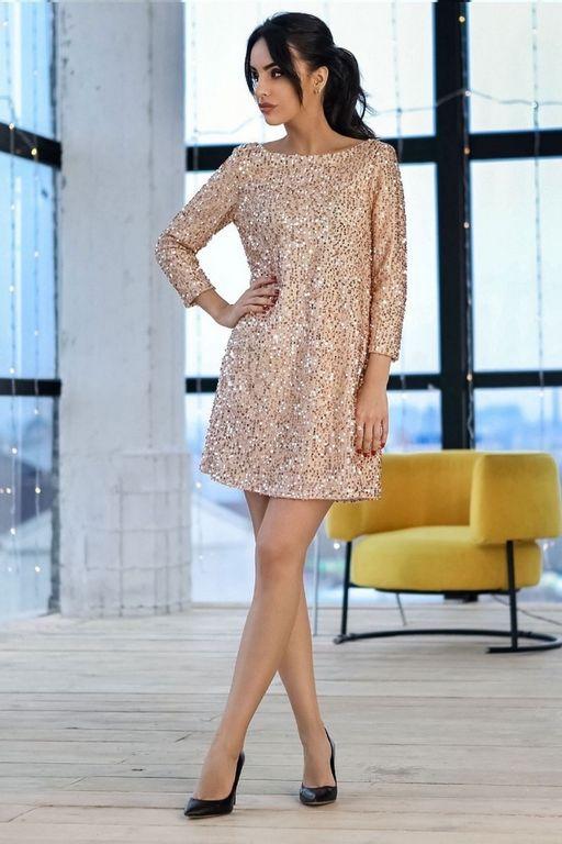 Блестящее платье мини