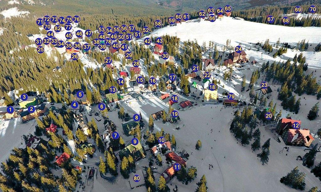 Расположение отелей горноліжного курорта Драгобрат