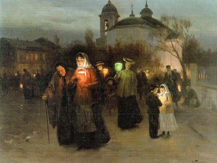 Пасха 2021 - Выход из церкви на Страстной четверг, Пимоненко Николай Корнилович, 1904