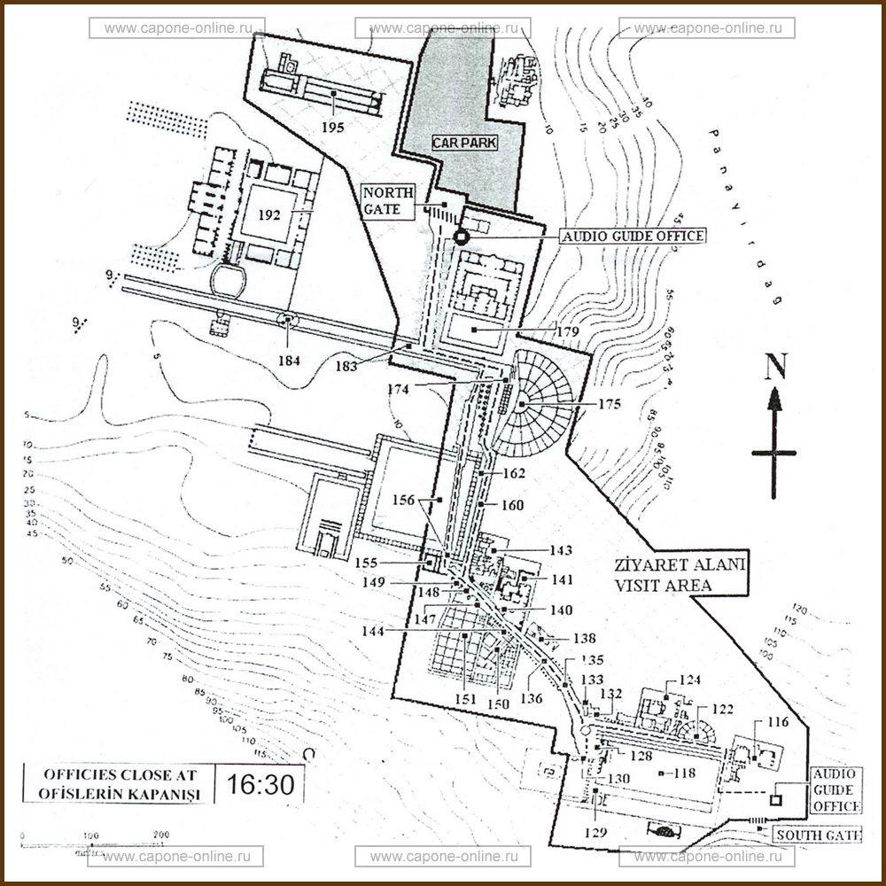План-схема развалин античного города - Древний город Эфес Турция