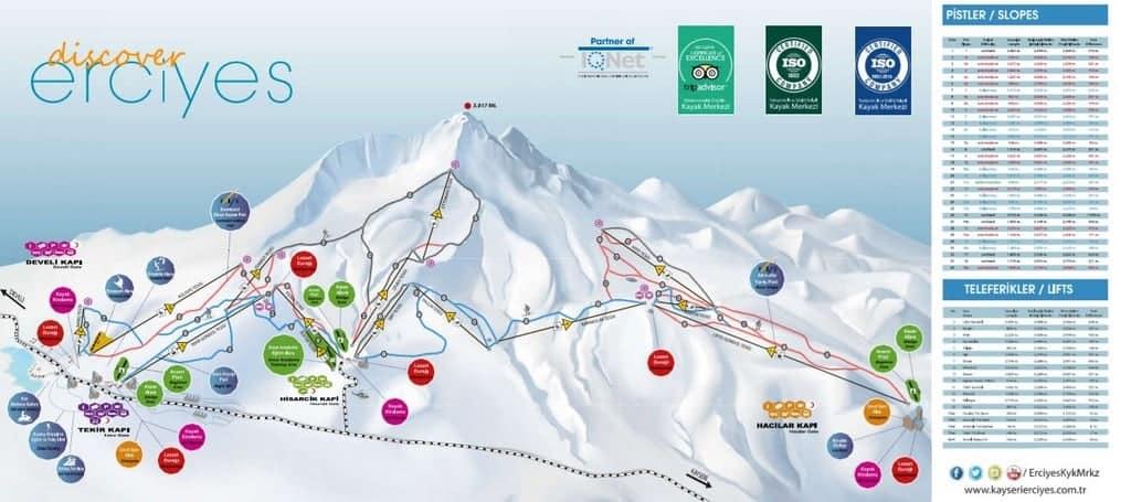 Карта курорта Горнолыжнй центр «Эрджиес» (Erciyes Ski Resort)