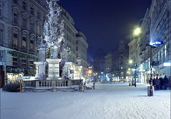 Вена зимой улица Грабен Туры по Европе