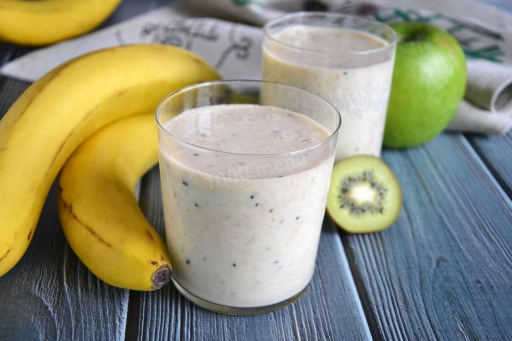 Смузи с киви, бананом и яблоком Фруктовые смузи
