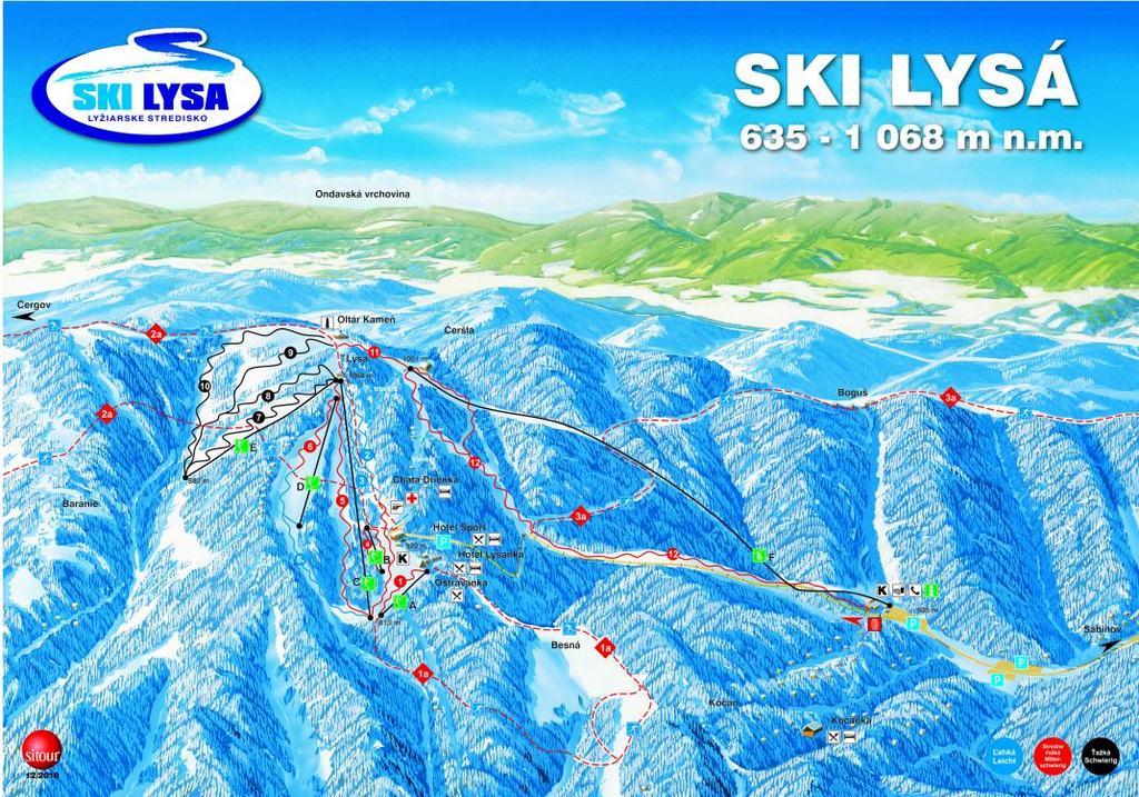 Карта курорта Дриеница (Drienica),  Горнолыжные курорты Словакии