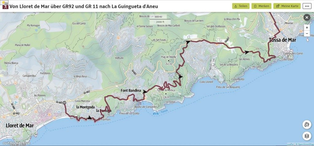 Часть маршрута GR92от Ллорет де Мар до Тосса де Мар на карте Коста Брава