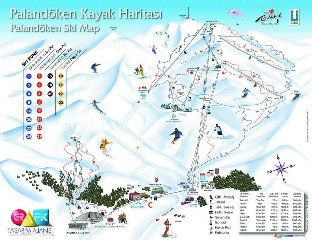 Карта курорта Паландокен, Горнолыжные курорты Турции