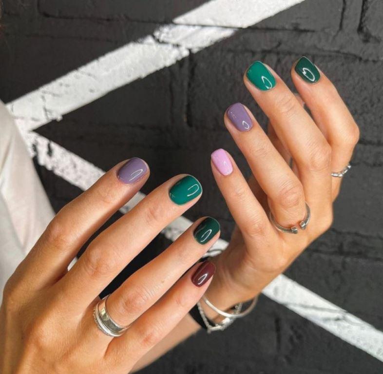Сочный разноцветный маникюр - разные пальчики