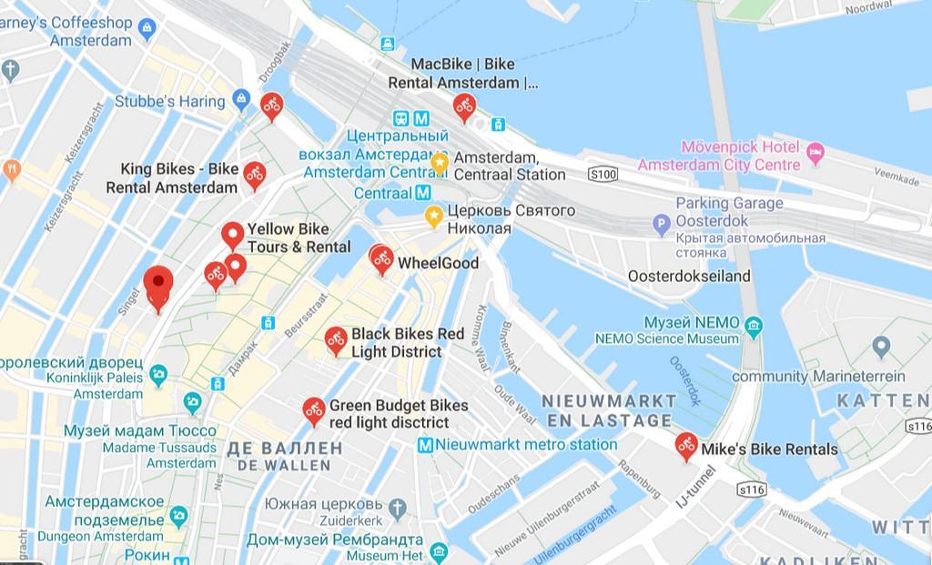 Карта фирм по аренде велосипедов Амстердам