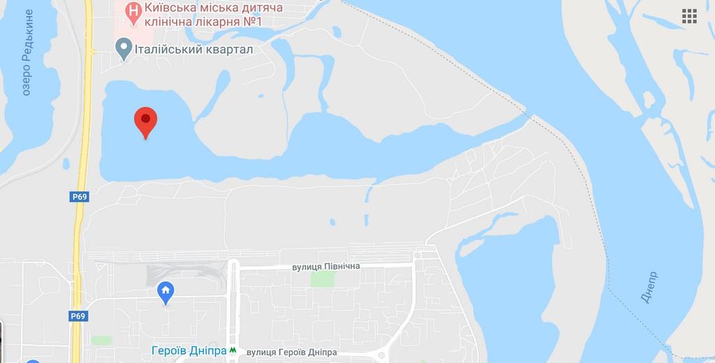 Залив Верблюд на карте, Киев - Оболонь
