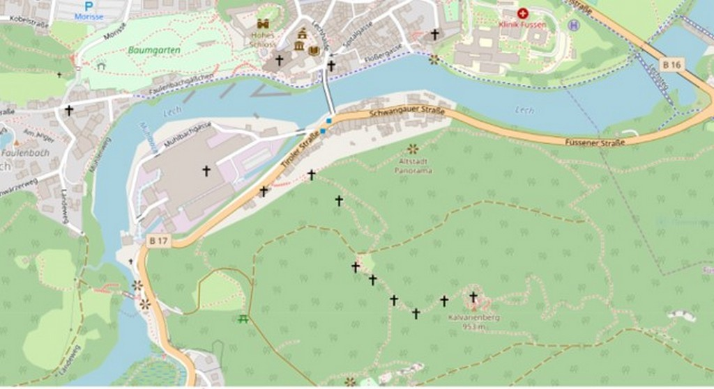 Путь на голгофу в Фюссене, карта