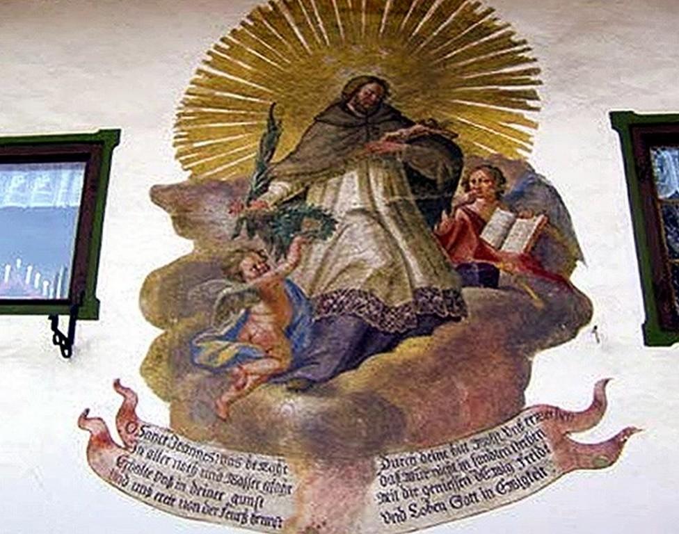 Фреска – Святой Непомук Обераммергау (Бавария, Германия)