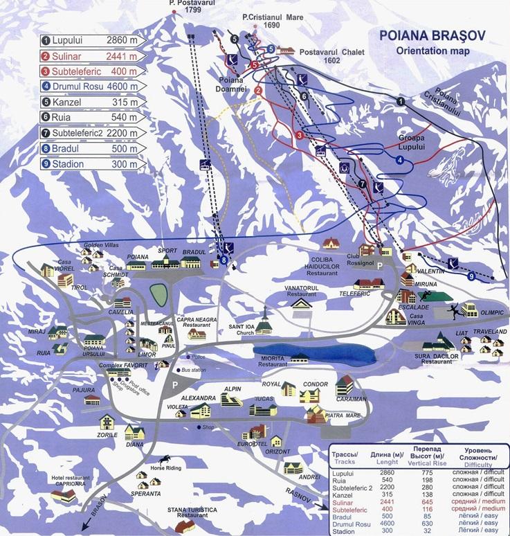 Карта склонов курорта Пояна Брашов