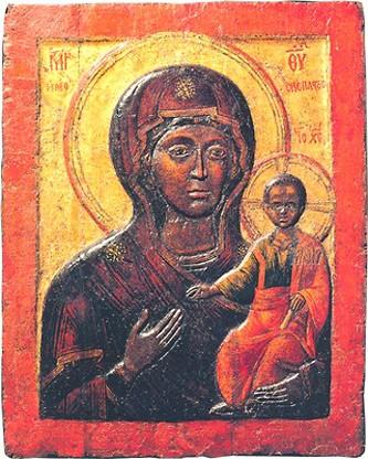 Икона выполнена в виде «Одигитрии»