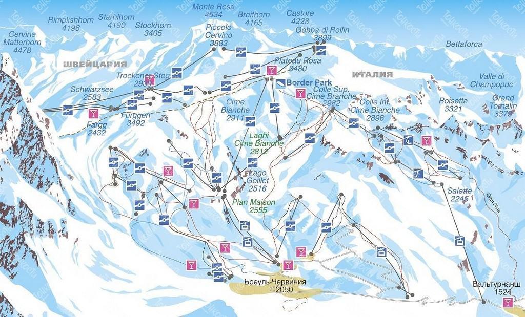 Карта курорта Брёй-Червиния