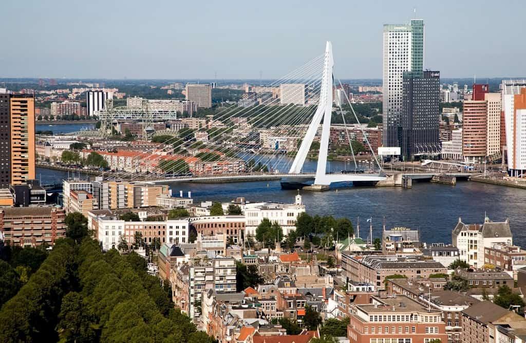 Мост Эразма Erasmusbrug через реку Маас (Лебедь-мост) Роттердам - Нидерланды
