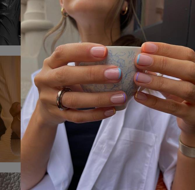 Цветной французский маникюр с кофе