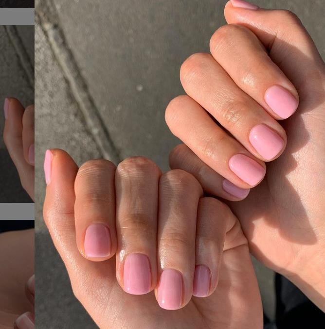 Розовый нежный маникюр - однотонный