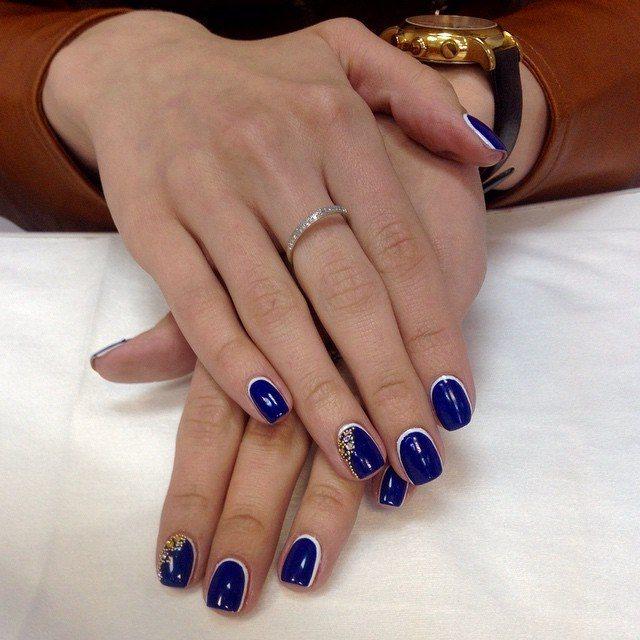 Темно-синий френч обратный с белой полоской и стразами