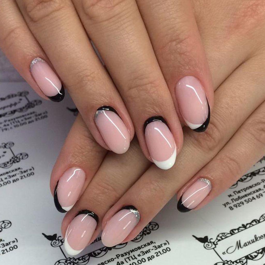 Розовый, белый и черный- обратный френч