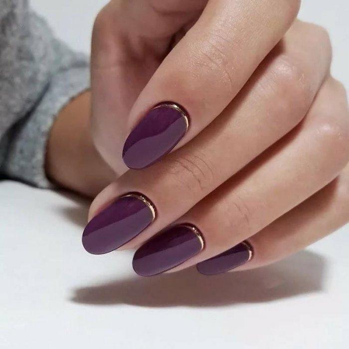 Фиолетовый обратный френч с золотом