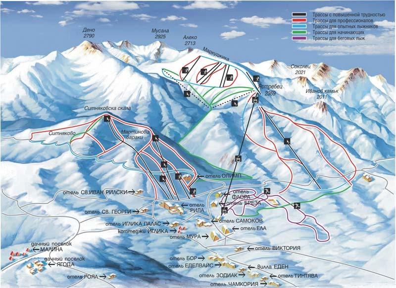 Отели Боровца на карте и трассы Горнолыжные курорты Болгарии