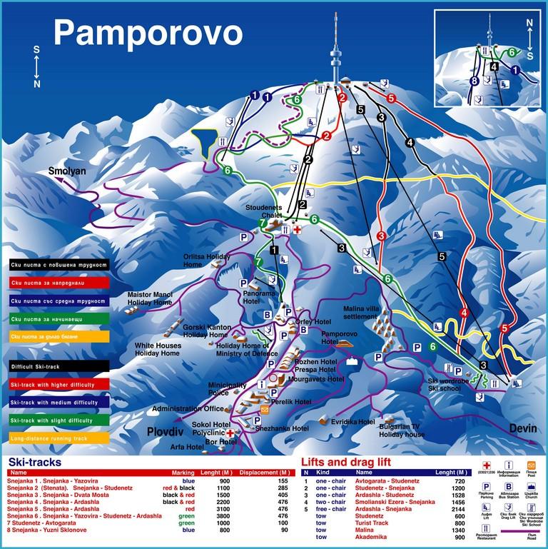 Карта курорта - Пампорово, Болгария Горнолыжные курорты Болгарии