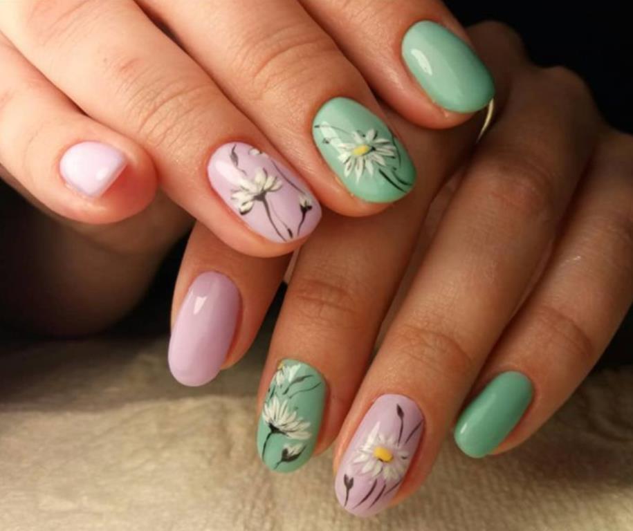 Ромашки - Дизайн ромашек на ногтях