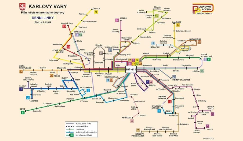 Схема транспорта Карловых Вар