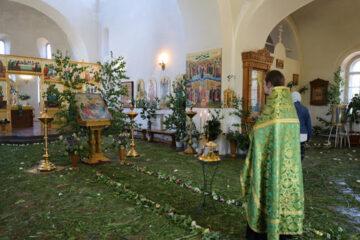 Торжественное украшение храма на Троицу ветвями деревьев, а пола - свежей травой