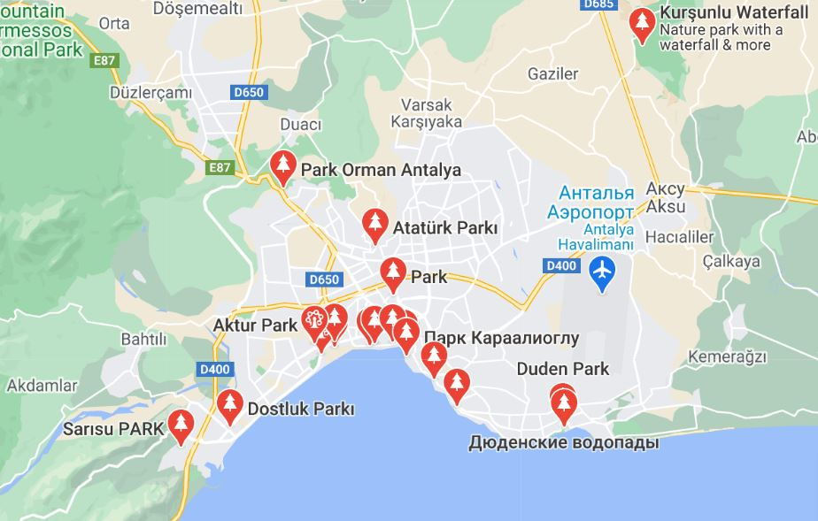 Карта парков Анталии