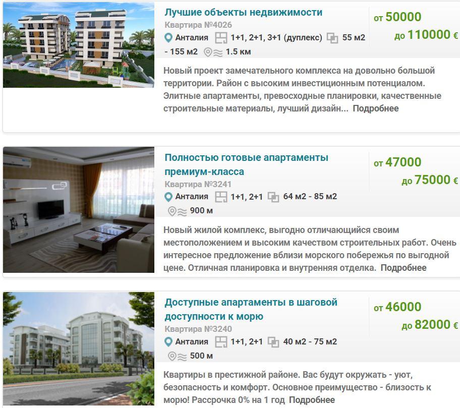 Цена квартиры в Анталии