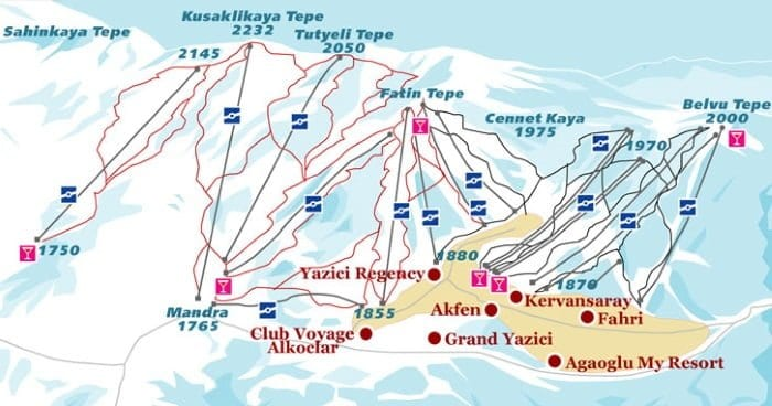 Карта курорта Улудаг (Uludag)