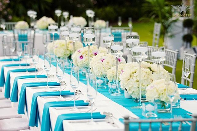 Мягкий лазурный цвет свадьбы - необычный свадебный декор Свадьба