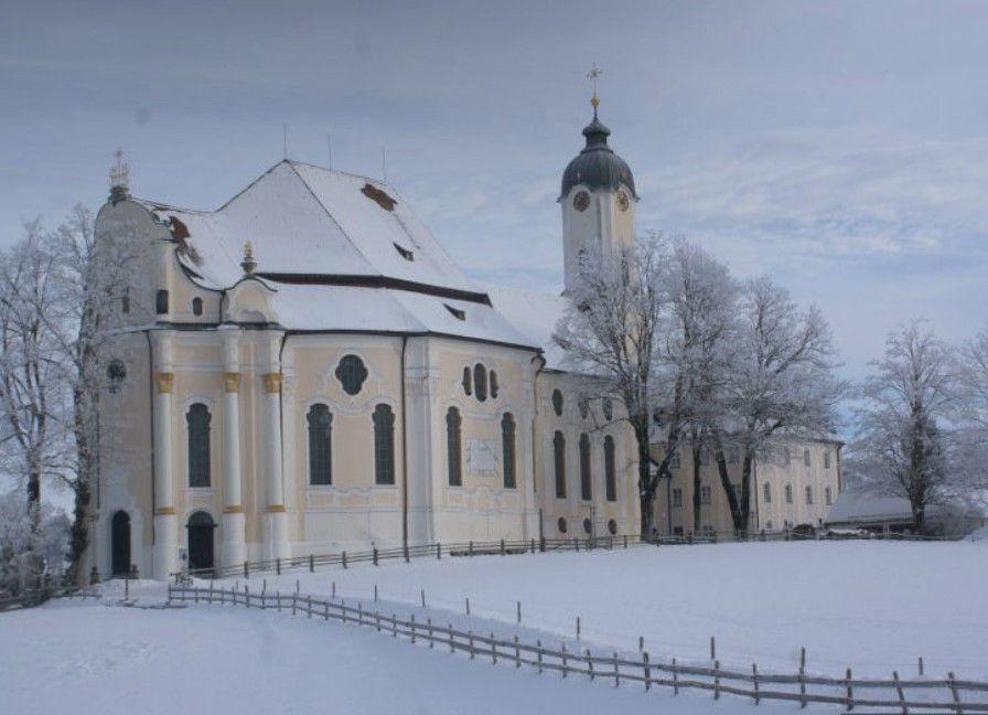 Церковь Вискирхе зимой, Бавария