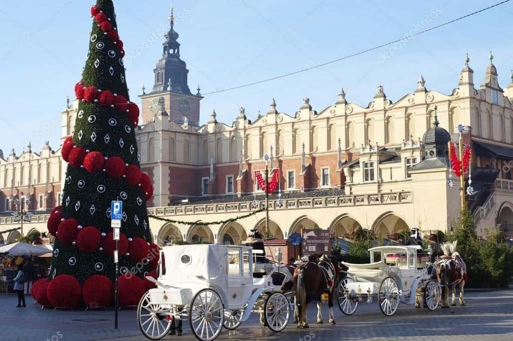 Рождественская ёлка - Рыночная площадь, Краков зимой (Новый год 2021)