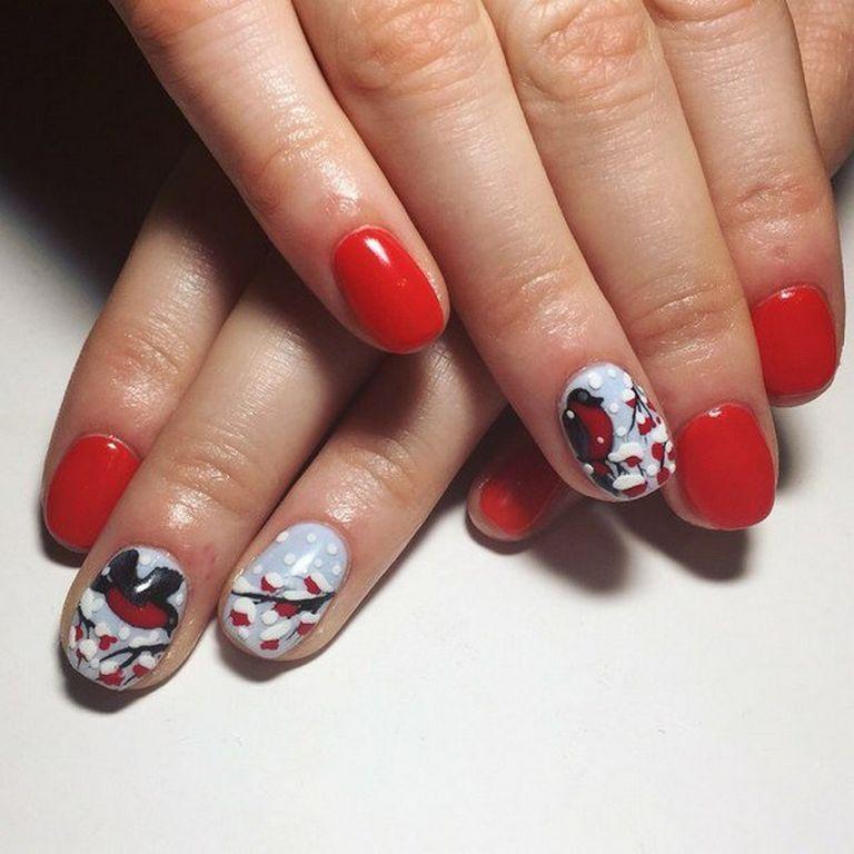 Ногти со снегирями